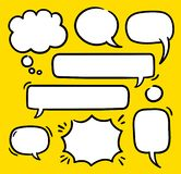 Cartoon text balloons, speech bubbles doodle vector set. Empty word comic shapes of thinking or speaking. Illustrations. Stored as symbols, some with 9-slice stock illustration