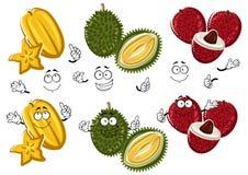Cartoon thai lychees, durian and carambola fruits Royalty Free Stock Photo