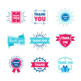 Cartoon Thank You Badges or Labels Set. Vector royalty free illustration