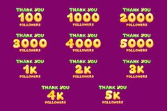 cartoon thank you followers numbers set royalty free illustration