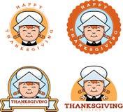 Cartoon Thanksgiving Pilgrim Girl Graphic Royalty Free Stock Images