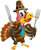 Cartoon Thanksgiving Turkey Fork Knife Stock Image