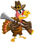 Cartoon Thanksgiving Turkey Threatening Rifle Royalty Free Stock Photos