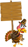 Cartoon Thanksgiving Turkey Wooden Sign Royalty Free Stock Photos