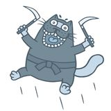 Cartoon thick ninja cat armed with sickles. Vector illustration. Cartoon thick ninja cat armed with sickles. Funny warrior character. Vector illustration Royalty Free Stock Images