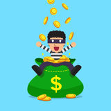 Cartoon thief with big money bag Royalty Free Stock Images