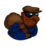 Cartoon thief or burglar character with bag Royalty Free Stock Photo