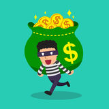 Cartoon a thief carrying big money bag Stock Image