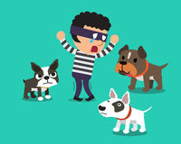 Cartoon a thief and dogs Royalty Free Stock Photos