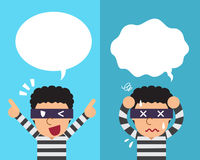 Cartoon thief expressing different emotions with speech bubbles. For design Royalty Free Stock Photography