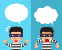 Cartoon thief expressing different emotions with speech bubbles. For design Royalty Free Stock Photo
