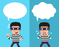 Cartoon thief expressing different emotions with white speech bubbles. For design Royalty Free Stock Images