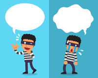 Cartoon thief expressing different emotions with white speech bubbles. For design Stock Photography