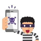 Cartoon thief holding smartphone with skull icon Royalty Free Stock Photo
