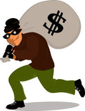 Cartoon thief. Thief in a mask carrying a money bag with a dollar sign,  cartoon Stock Photos