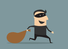 Cartoon thief in mask with sack Stock Image