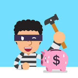 Cartoon thief with piggy bank Royalty Free Stock Photo