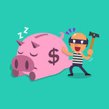 Cartoon thief and pink piggy Royalty Free Stock Image
