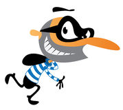 Cartoon thief running. Cartoon illustration of a cheeky thief with a mask and swag running Stock Image
