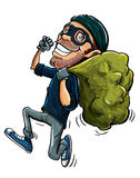 Cartoon thief running with a bag of stolen goods. Over his shoulder vector illustration