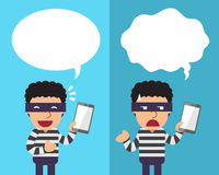 Cartoon thief with smartphone expressing different emotions with speech bubbles Stock Images