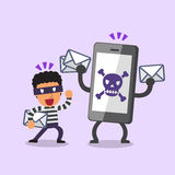 Cartoon thief and smartphone with skull icon Royalty Free Stock Photography