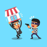Cartoon thief stealing business shop from a businessman Royalty Free Stock Image