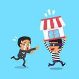 Cartoon thief stealing business shop from businessman Stock Images