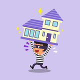 Cartoon thief stealing a house Stock Photo