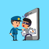 Cartoon thief stealing mails from smartphone and policeman Stock Photography