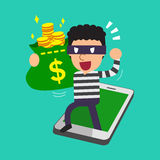 Cartoon thief stealing money bag from smartphone Stock Image
