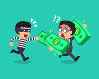 Cartoon a thief stealing money from businessman Stock Photography