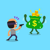 Cartoon thief stealing money Royalty Free Stock Photos