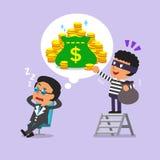 Cartoon thief stealing money from dream of businessman Stock Photos
