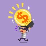 Cartoon thief stealing money idea Royalty Free Stock Photography