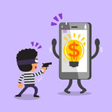Cartoon thief stealing money idea from smartphone Stock Photography