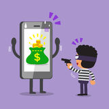 Cartoon thief stealing money from smartphone Stock Image