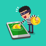 Cartoon a thief stealing money from smartphone Stock Photo