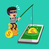 Cartoon thief stealing money from smartphone Royalty Free Stock Images