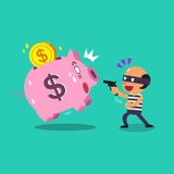 Cartoon a thief stealing pink piggy Royalty Free Stock Images