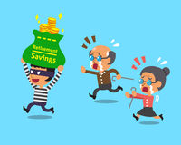 Cartoon thief stealing retirement savings bag Royalty Free Stock Photo