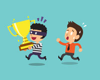 Cartoon thief stealing trophy. For design Royalty Free Stock Photo