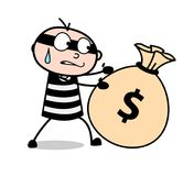 Cartoon Thief Trying to Carry Cash Bundle Vector. Design Stock Photography