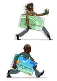 Cartoon thieves with bank cards and money Stock Photo