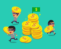 Cartoon thieves with big coins. For design Stock Photos
