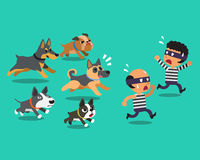 Cartoon thieves and guard dogs Stock Image
