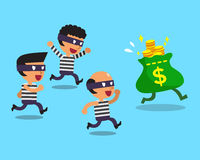 Cartoon thieves and money bag Stock Image