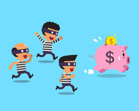 Cartoon thieves and pink piggy. For design Stock Images