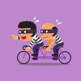 Cartoon thieves ride tandem bicycle Royalty Free Stock Photos