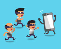 Cartoon thieves and smartphone Royalty Free Stock Photography